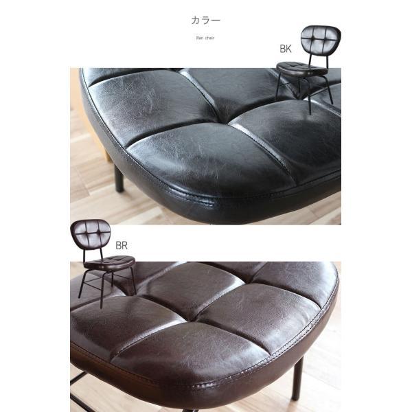 インダストリアルチェア 椅子 アイアンフレーム PUレザー ダイニングチェア 重量6kg 軽量 ブラウン ブラック レトロ ミッドセンチュリー 軽い GMK|crescent|03