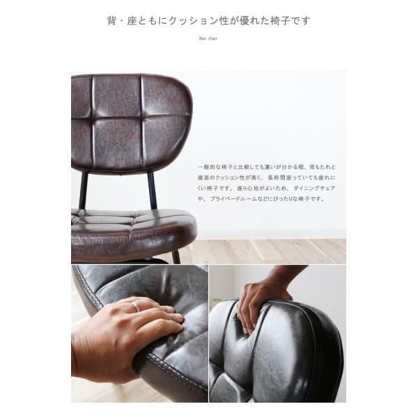 インダストリアルチェア 椅子 アイアンフレーム PUレザー ダイニングチェア 重量6kg 軽量 ブラウン ブラック レトロ ミッドセンチュリー 軽い GMK|crescent|07
