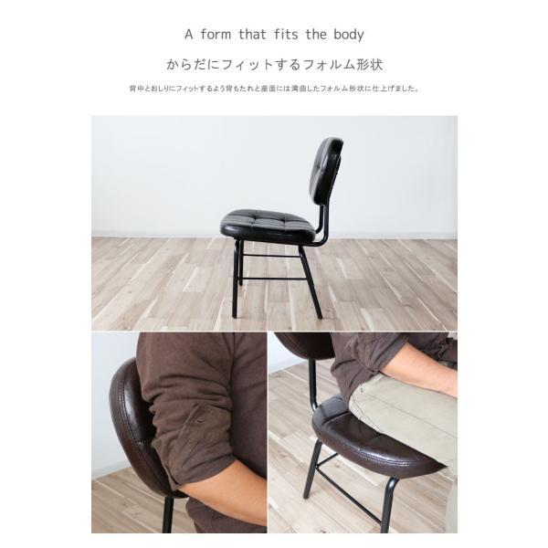 インダストリアルチェア 椅子 アイアンフレーム PUレザー ダイニングチェア 重量6kg 軽量 ブラウン ブラック レトロ ミッドセンチュリー 軽い GMK|crescent|08