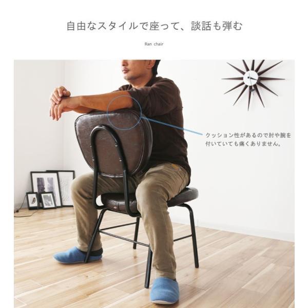 インダストリアルチェア 椅子 アイアンフレーム PUレザー ダイニングチェア 重量6kg 軽量 ブラウン ブラック レトロ ミッドセンチュリー 軽い GMK|crescent|09