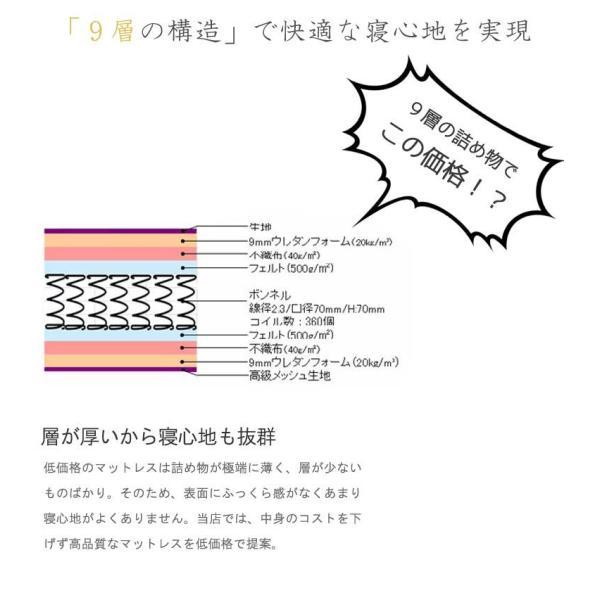 マットレス 折りたたみ シングル しっかりハード 極太ボンネルコイルマットレス 2WAY片面メッシュ 世界基準認証 あすつく 限界 murren-bm5200s|crescent|03