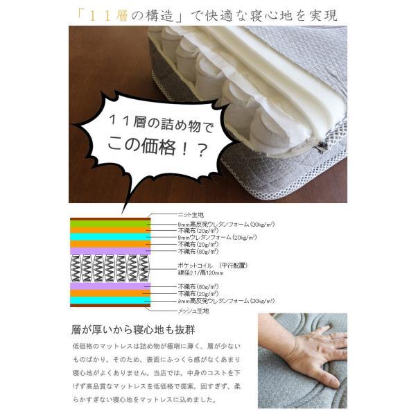 極太ポケットコイルマットレスのみ ダブル ハード 11層  高反発ウレタン入り 腰痛 対策 マットレス 3Dメッシュ 固め 堅め 硬め かため 堅い 硬い 固い かたい|crescent|03