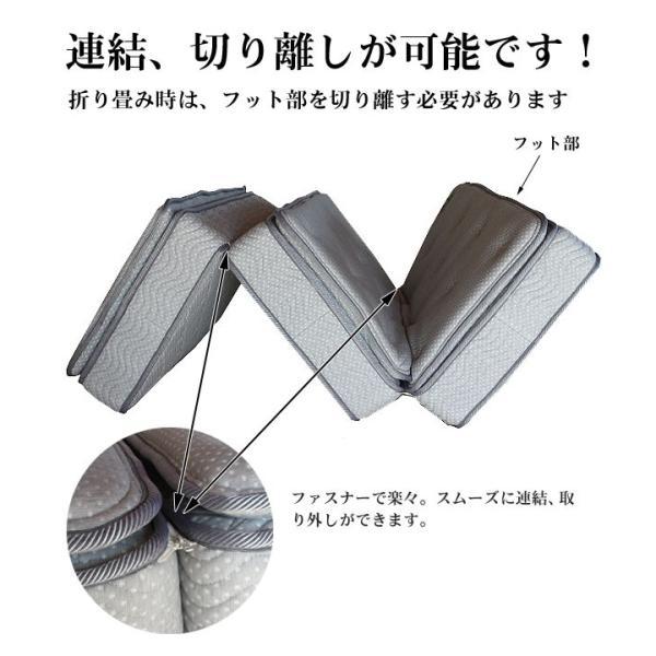 セミダブルマットレス 3分割式 低反発+羊毛 片面ピロートップ 折りたたみ 折り畳み 三つ折り ポケットコイルスプリングマット 高級ホテル仕様 あすつく YSS|crescent|03