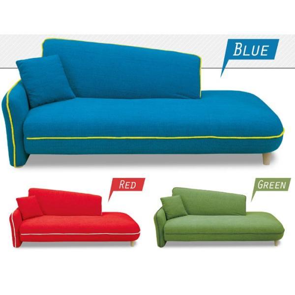 ソファベッド 片肘カウチ 3人掛け ファブリック ブルー、レッド、グリーン カジュアル 高級感 丸みのあるシンプルなデザイン SSG  t001-|crescent|02