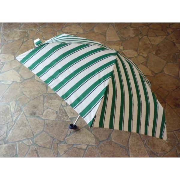 コンパクトポーチ ボールドストライプ折りたたみ雨傘(グリーン) crococko