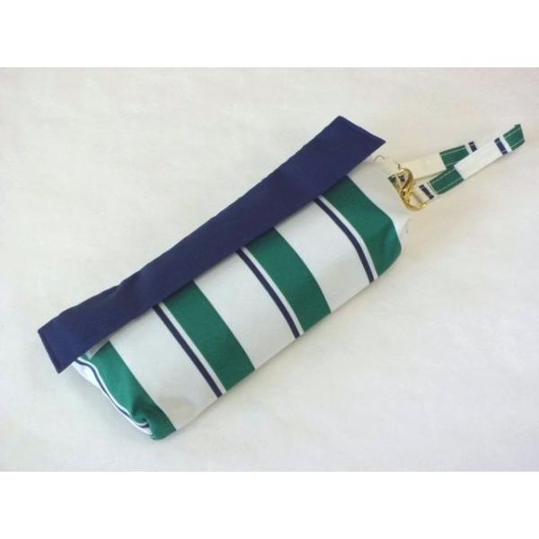 コンパクトポーチ ボールドストライプ折りたたみ雨傘(グリーン) crococko 02