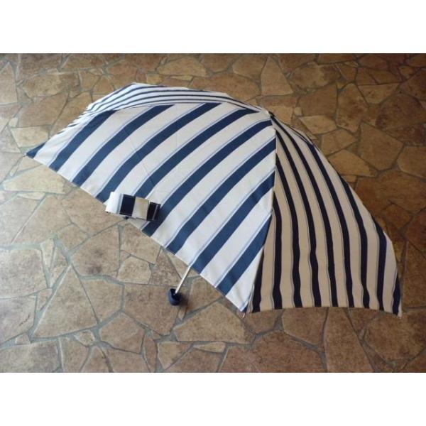 コンパクトポーチ ボールドストライプ折りたたみ雨傘(ネイビー)|crococko