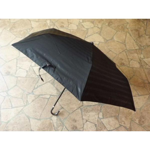 PUボーダー折りたたみ日傘(ブラック)|crococko