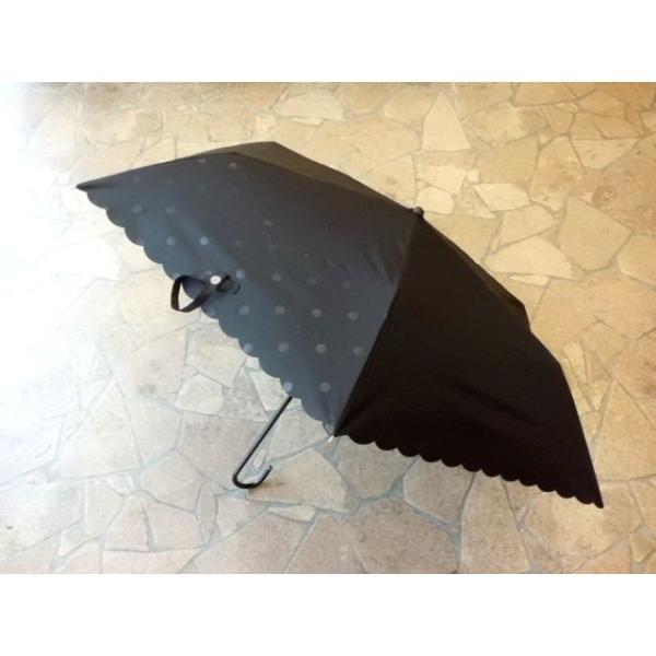 PUドットヒートカット折りたたみ日傘(ブラック)|crococko