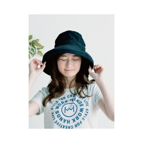 ツバ広女優帽(ブラック)|crococko