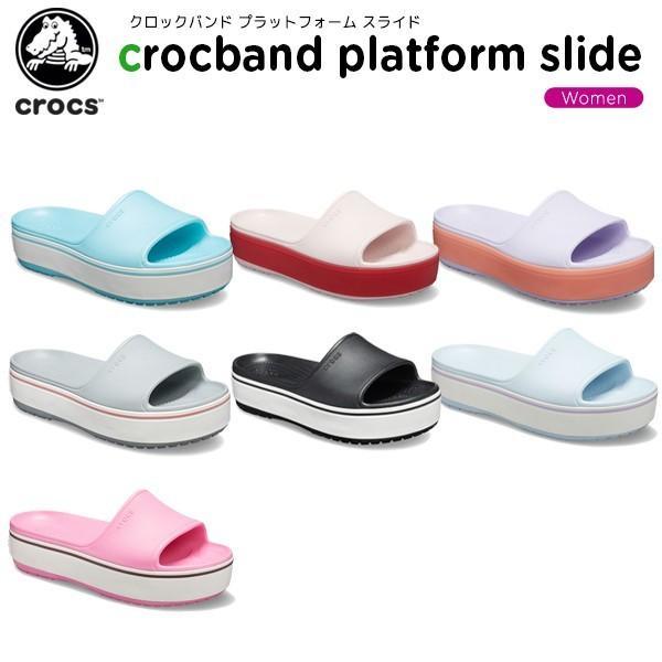 クロックス crocs  クロックバンド プラットフォーム スライド crocband platform slide  レディース 女性用 厚底 サンダル シューズ [C/B]