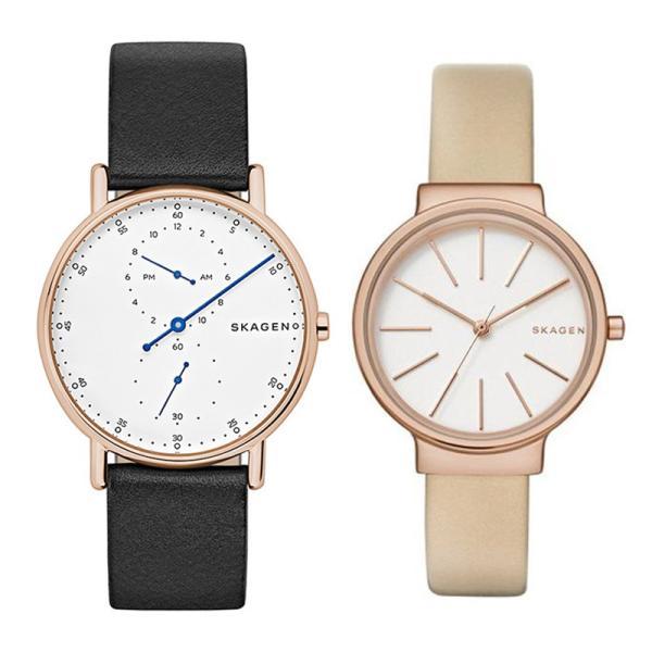 スカーゲン skagen ペアウォッチ レザーベルト ホワイト ホワイト 腕時計