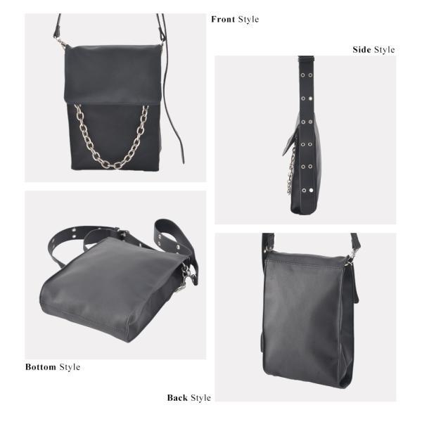 ショルダーバッグ サコッシュ メンズ レディース PU 小さめ ブランド 軽い 軽量 チェーン おしゃれ 黒 斜めがけ 鞄 縦型 ミニバッグ|crosscharm|10