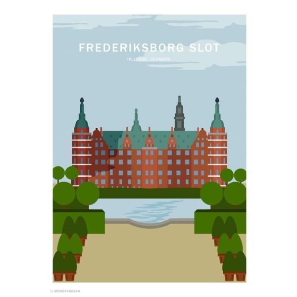 ポスター 50x70cm 北欧 デンマーク インテリア おしゃれ スタイリッシュ デザイン Wonderhagen 「Frederiksborg Castle」|crossed-lines