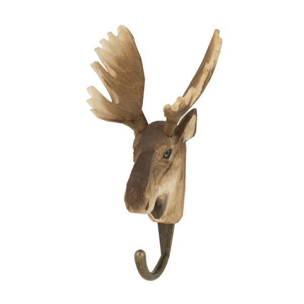 北欧 フック 動物 スウェーデン 剥製風 インテリア 手彫り 木製壁掛け Wildlife Garden アニマル・フック:ヘラジカ|crossed-lines