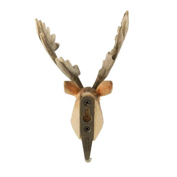 北欧 フック 動物 スウェーデン 剥製風 インテリア 手彫り 木製壁掛け Wildlife Garden アニマル・フック:ヘラジカ|crossed-lines|02