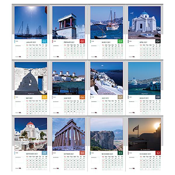 まだ間に合う 短納期 翌日発送相談 2021年  世界に一つ オリジナル 写真 オリジナルカレンダー 12枚 ギリシャ編|crossmindsnet|02