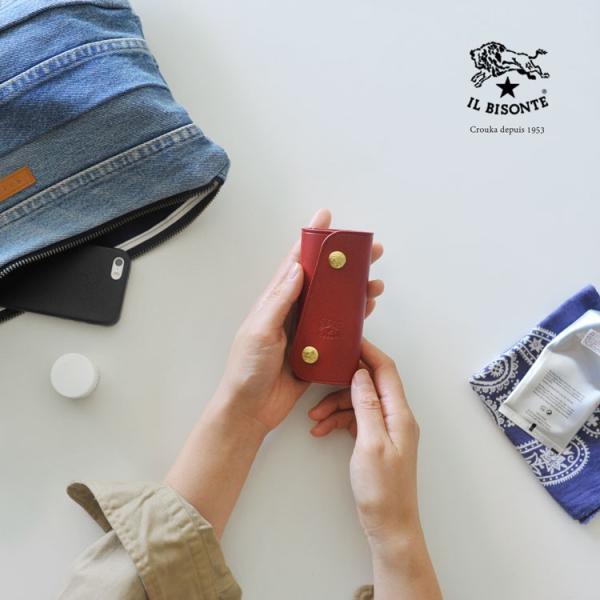 イルビゾンテ IL BISONTE スナップボタン 3つ折り キーケース ・5412305250【クーポン対象外】|crouka