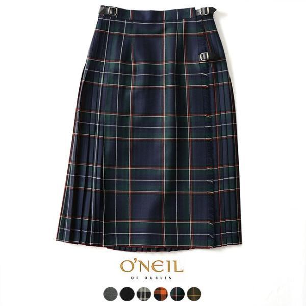 オニールオブダブリン O'NEIL OF DUBLIN Accordion Kilt ソリッド チェック プリーツラップスカート・114ABL|crouka