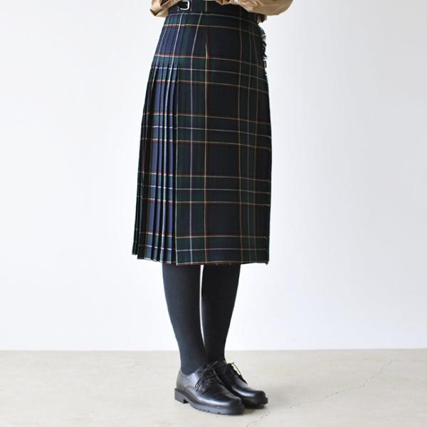 オニールオブダブリン O'NEIL OF DUBLIN Accordion Kilt ソリッド チェック プリーツラップスカート・114ABL|crouka|03