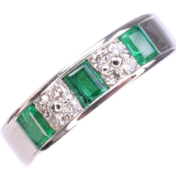 ★エメラルド ダイヤ リング・指輪 Pt900プラチナ 13号 緑 レディース 中古  SAランク