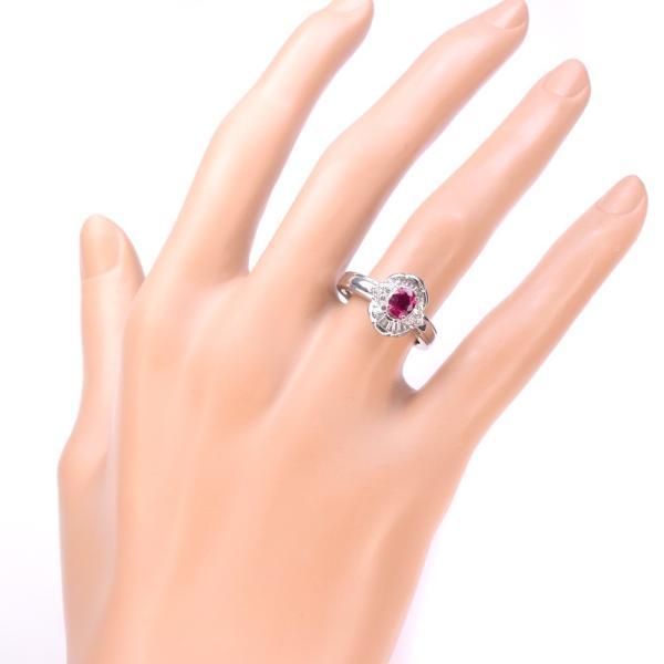 ★ルビー ダイヤ リング・指輪 Pt900プラチナ 11号 赤 レディース 中古  SAランク