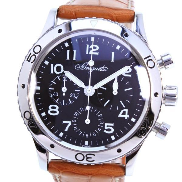 size 40 888b5 1560c Breguet ブレゲ アエロナバル TYPE XX 腕時計 ステンレススチール×レザー シルバー 自動巻き メンズ 黒文字盤 中古 Aランク