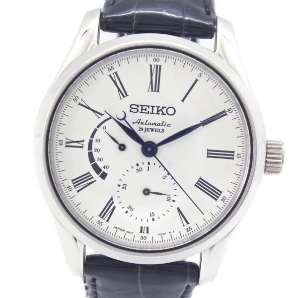 SEIKO セイコー プレサージュ 琺瑯ダイアル パワーリザーブ SARW011 腕時計 ステンレススチール×レザー 自動巻き メンズ 白文字盤 中古  B+ランク