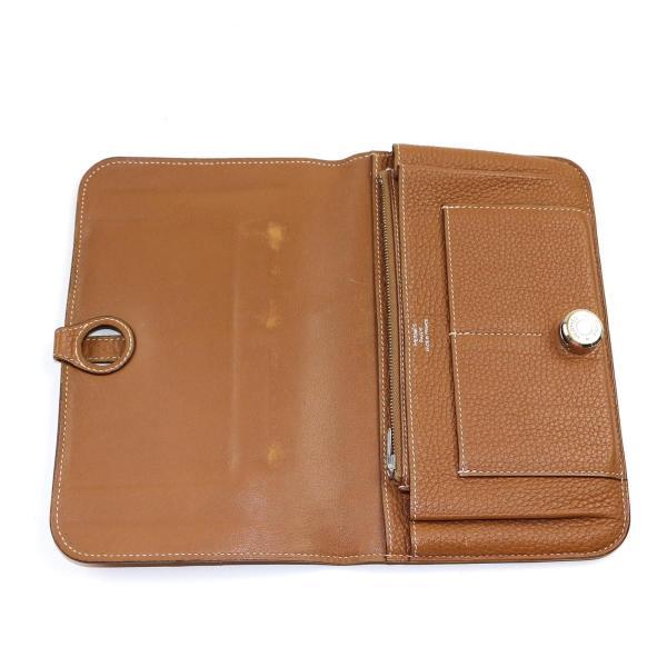 エルメス ドゴンGM 二つ折り長財布 メンズ レディース 長財布 ゴールド(シルバー金具) トゴ  ランクB|cruru|05