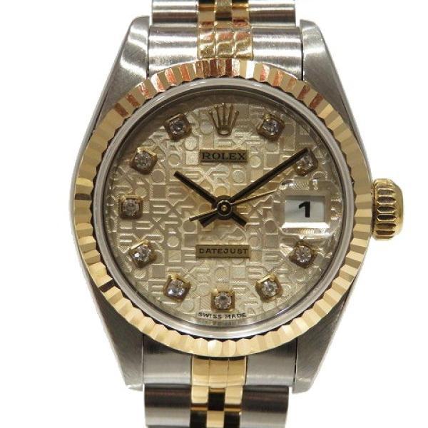 ロレックス デイトジャスト ウォッチ 腕時計 白系 K18YG(750)イエローゴールド×ステンレススチール×ダイヤモンド 69173G ランクA cruru