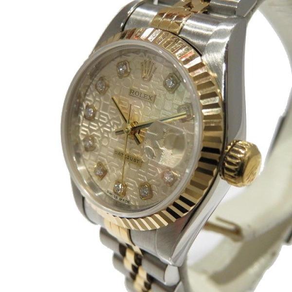 ロレックス デイトジャスト ウォッチ 腕時計 白系 K18YG(750)イエローゴールド×ステンレススチール×ダイヤモンド 69173G ランクA cruru 03