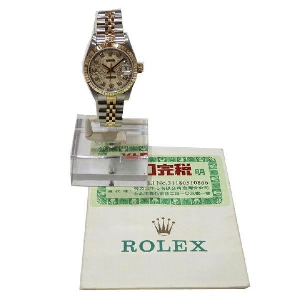 ロレックス デイトジャスト ウォッチ 腕時計 白系 K18YG(750)イエローゴールド×ステンレススチール×ダイヤモンド 69173G ランクA cruru 10