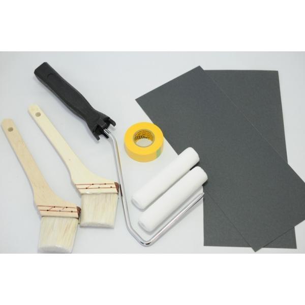 浴室修復塗料 バスロン バスタブと床パン用と施工道具セット 塗布剤 選べる10色|crystalfiber|06