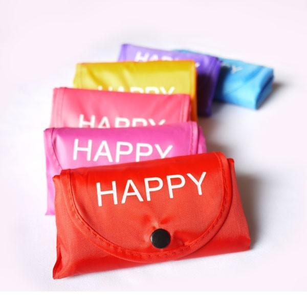 退職お礼プチギフト 折り畳みエコバッグ HAPPY / A3も入る大容量!かわいいナイロントートバッグ 色おまかせ ラッピング無料|csselect|07