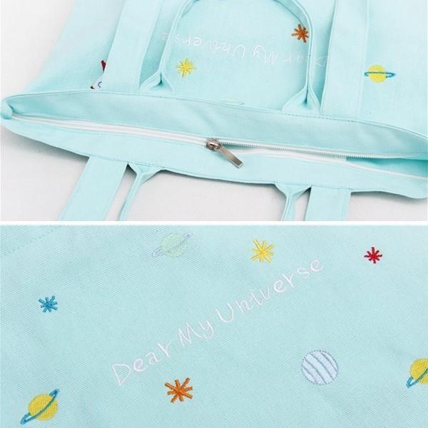 ●新● レディース 刺繍エコバッグ ショルダーバッグ キャンパスバッグ トートバッグ B4 A4 サブバッグ 全国ゆうパケット送料240円