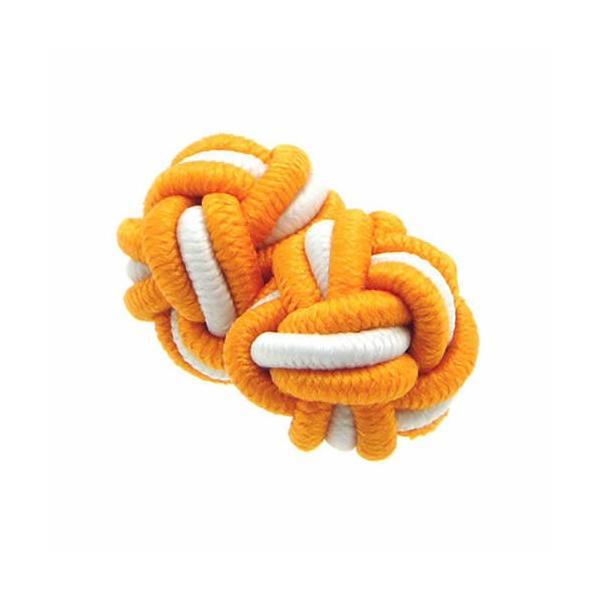 ガムカフス ゴムカフス 組紐 組み紐 カフス カフスボタン カフリンクス オレンジ&ホワイト