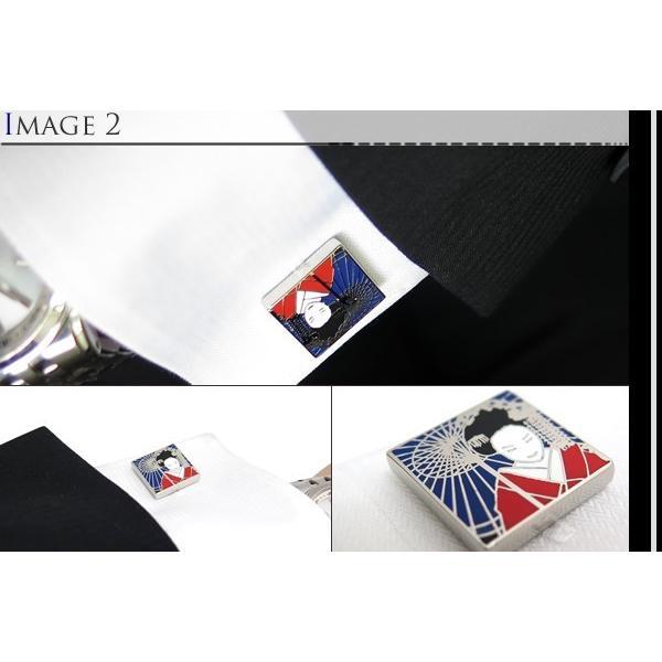 TYLER & TYLER タイラー&タイラー カプセルエナメルゲイシャカフス(レッド/ブルー) ブランド cufflink 04