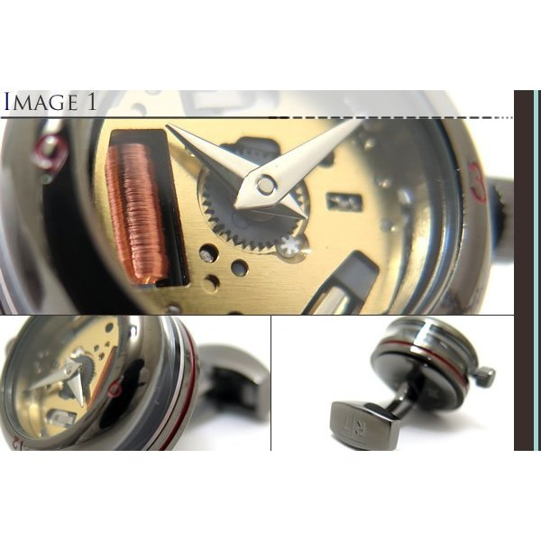 TATEOSSIAN タテオシアン メカニカル パノラマ時計カフス(ガンメタル) (カフスボタン カフリンクス) ブランド|cufflink|03