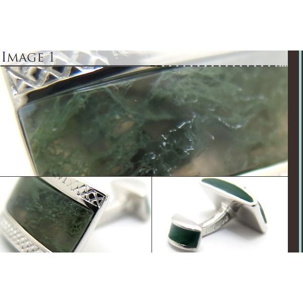 TATEOSSIAN タテオシアン シグニチャDシェイプ半輝石シルバーカフス(グリーンモスアゲート) (カフスボタン カフリンクス) ブランド|cufflink|03