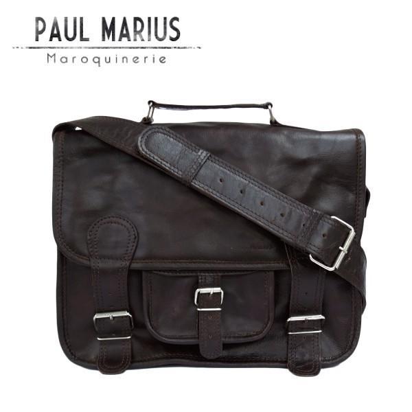 a7d874e4c656 レトロな学生鞄 Mサイズ ショルダーバッグ CAR-35Mダークブラウン PAUL MARIUS/ポール・マリウス/A4/本革 /ナチュラル/バッファローレザー