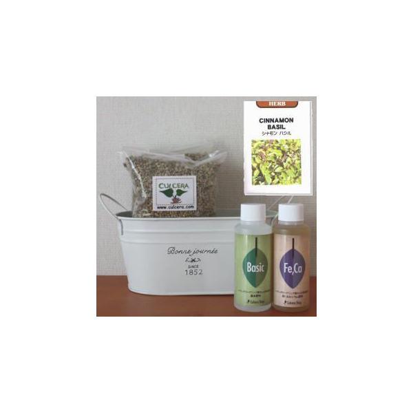シナモンバジルの栽培セット豊作セット【液体肥料付き】/プランターホワイト