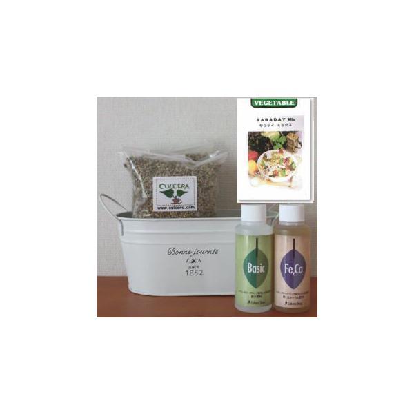 サボリの栽培セット豊作セット【液体肥料付き】/プランターホワイト