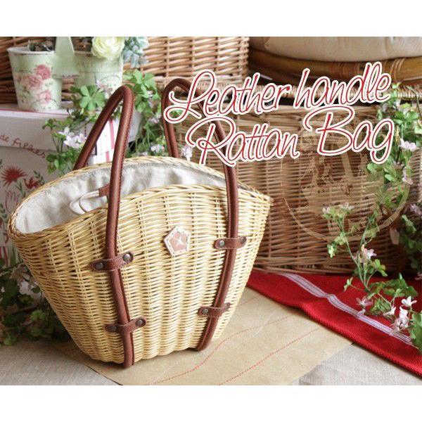 レザーハンドルラタンバッグ(バスケット型かごバッグ)(AinSoph アインソフ プレゼントにお勧め)(送料無料)|curicolle