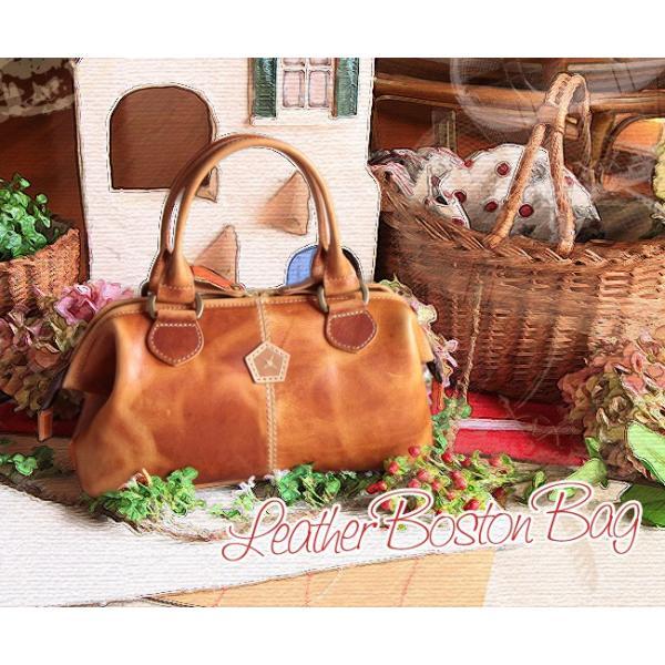 ヴィンテージ風レザーボストンバッグ (本革製婦人鞄・ダレスバッグ・ハンドバッグ)[AinSoph・アインソフ・プレゼントにお勧め]【送料無料】|curicolle