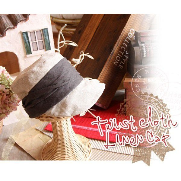 ツイストクロスリボン・リネン&コットンキャップ(レディース・帽子・ファブリックハット・布製)|curicolle