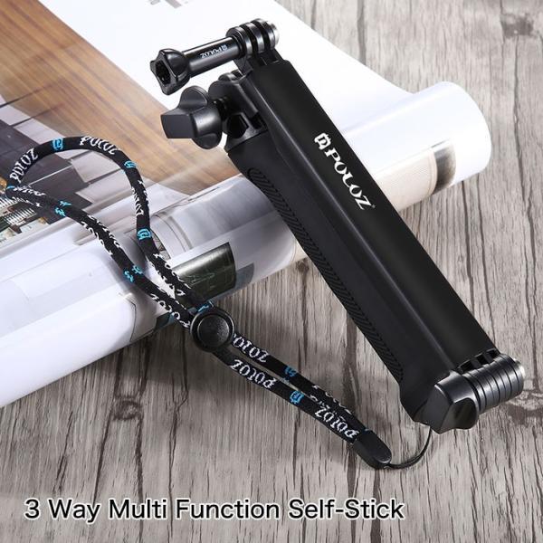 多機能セルフィスティック 自撮り棒 セルカ棒 三脚 折りたたみ式 アクションカメラ モノポッド Gopro SJCAM PULUZ