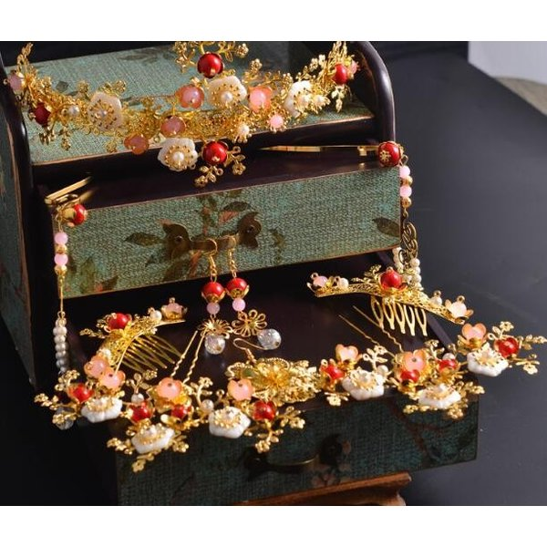 二枚送料無料 中国古代髪飾りセット唐宋時代漢服唐装用ヘアアクセサリー 結婚式舞台撮影用かんざしティアラ王冠 中華コスプレ変身道具