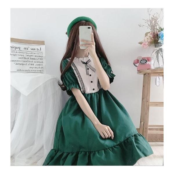 二次元衣装 美少女ウェア ロリータコスプレ衣装 ワンピース フリルワンピース 編み上げ パーフ袖 女子高校生 可愛いリボン 普段着/通学 二枚送料無料
