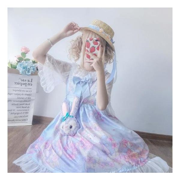 ロリータドレス 美少女ドレス Lolita キャミソールドレス スカラップ リボン 可愛いドレス 女子高校生 ピンク ブルー 杏色 紫 二枚送料無料