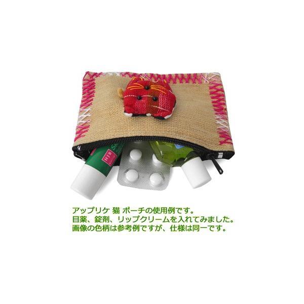 ポーチ 猫 アップリケ(大)(茶系)小物入れ 小銭入れ メール便対応 ギフト お土産 記念品 アジア雑貨 アジアン